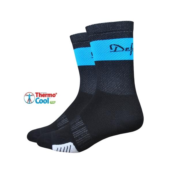 DeFeet Radsocken Cyclismo Thermocool Schwarz / Blau, S