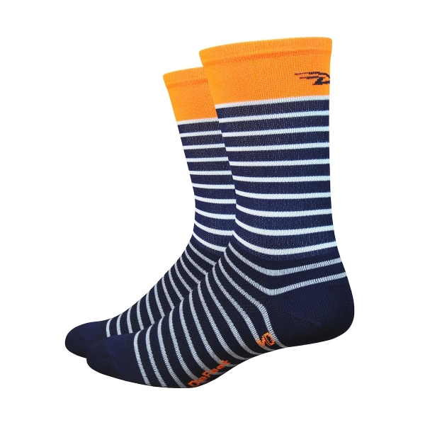 DeFeet Socken Aireator Single-Bund Sailor Blau / Weiß (15 cm)