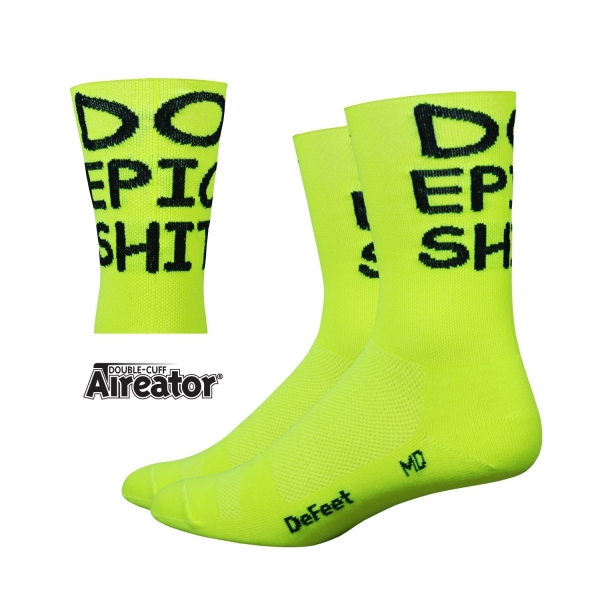 DeFeet Sportsocken Aireator Doppel-Bund Do Epic Shit Neon Gelb, S