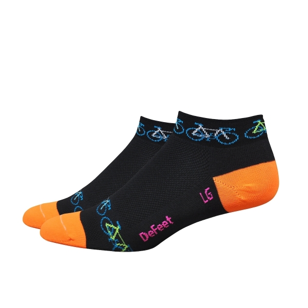 DeFeet Socken Aireator Frauen Bikes Rule Schwarz / Orange, L (3 cm)
