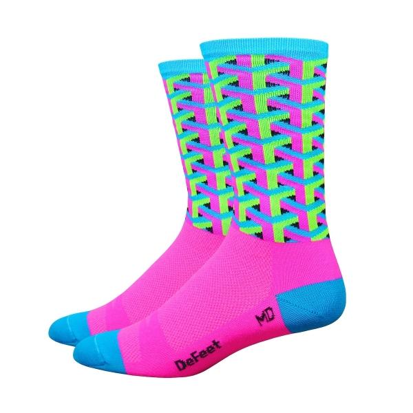 DeFeet Socken Hi Rouleur Aireator Single-Bund Framework Pink (15 cm)