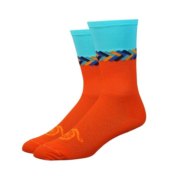 DeFeet Socken Aireator Handlebar Mustache Twisted Orange, XL