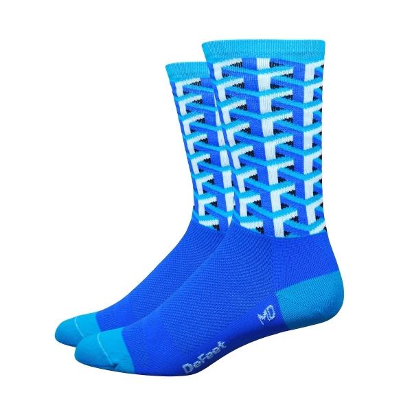 DeFeet Socken Hi Rouleur Aireator Single-Bund Framework Blau (15 cm)
