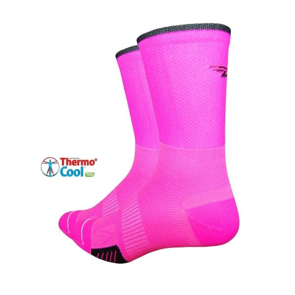 DeFeet Socken Cyclismo Thermocool Neon Pink / Schwarz (13 cm)