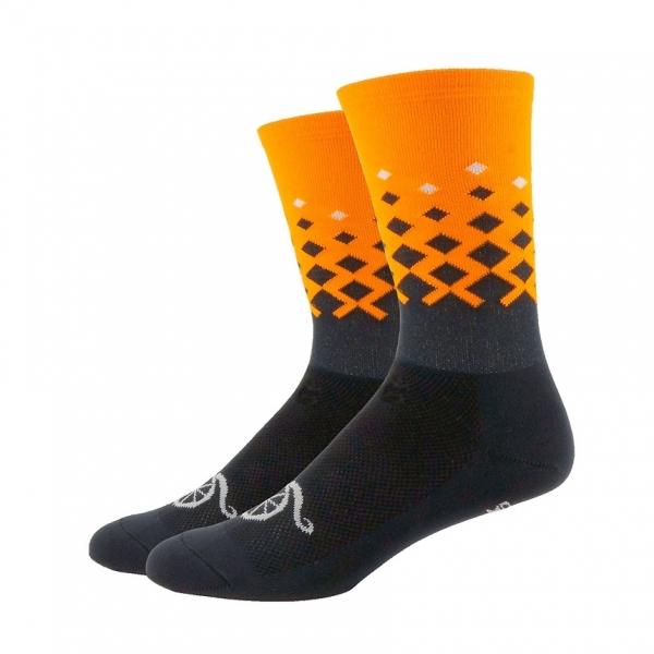 DeFeet Sportsocken Aireator Handlebar Mustache Rise Grau /  Orange, S (15 cm)